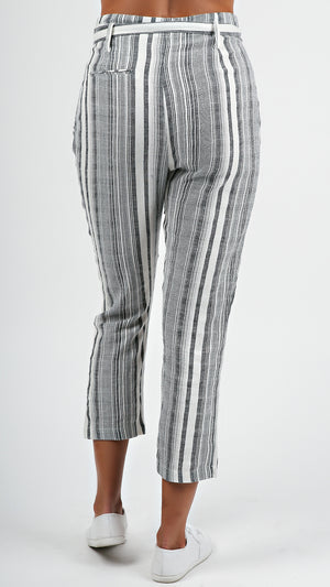 Front Tie Striped Pants...
