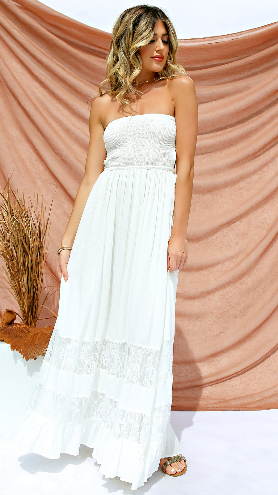 Lace Inset Strapless Maxi Dress