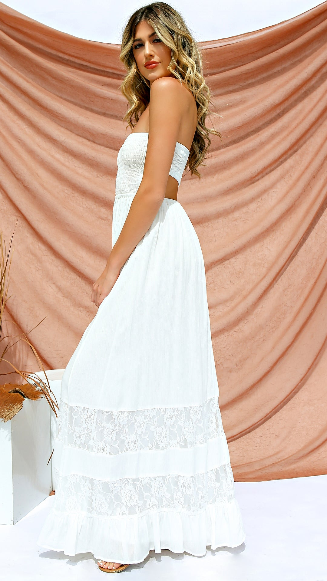 4cd601668e60 Lace Inset Strapless Maxi Dress
