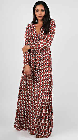 Chestnut Geo Maxi Dress...