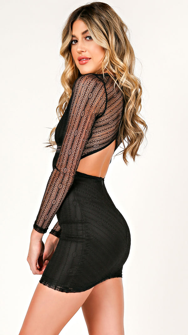 Patterned Mesh Long Sleeve Dress