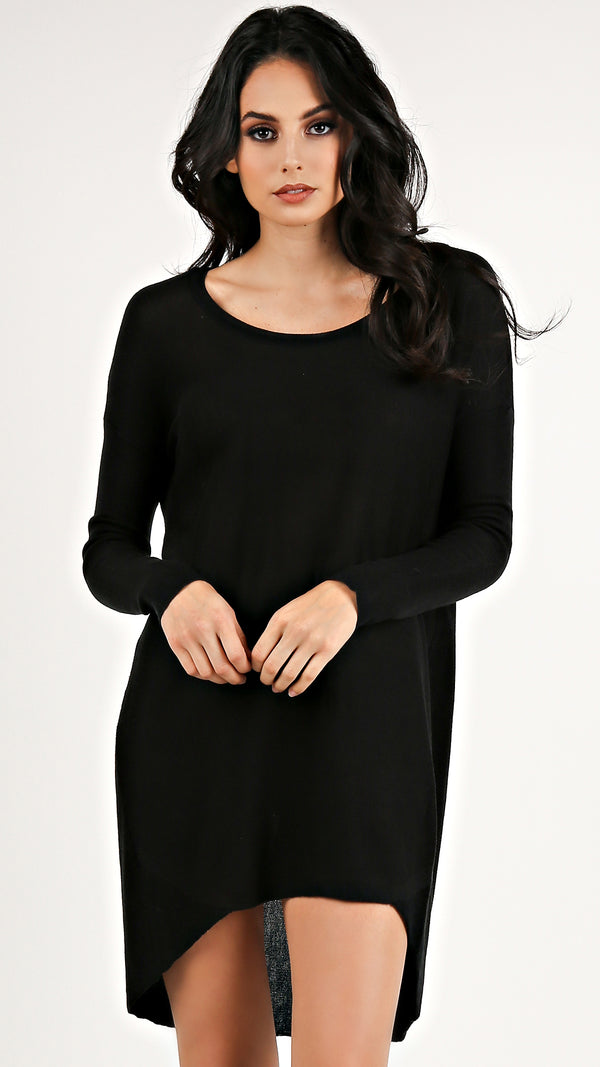 Basic Knit Round Neck Sweater Dress...