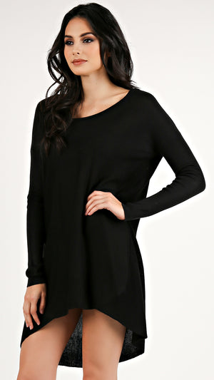 Basic Knit Round Neck Sweater Dress... - ANGL