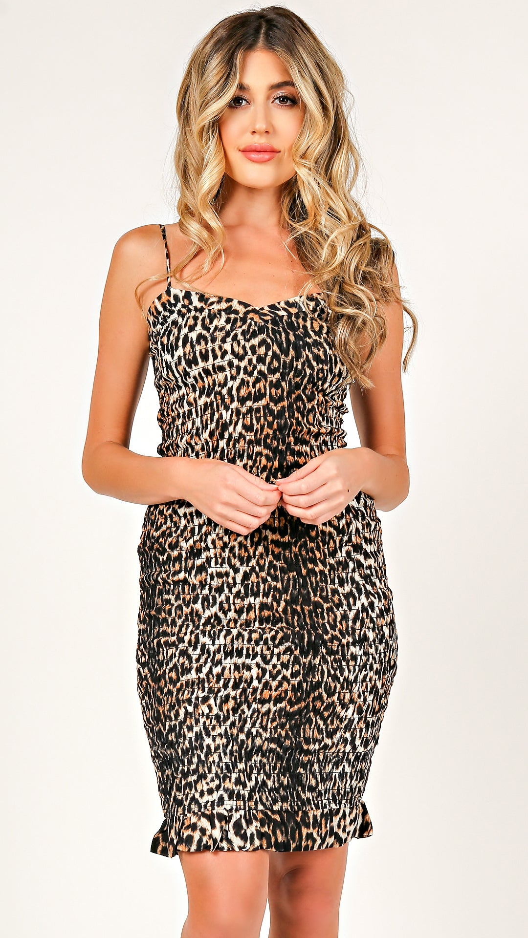 576e1bf31d80 Leopard Smocked Mini Dress