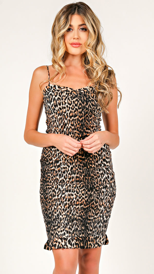 Leopard Smocked Mini Dress