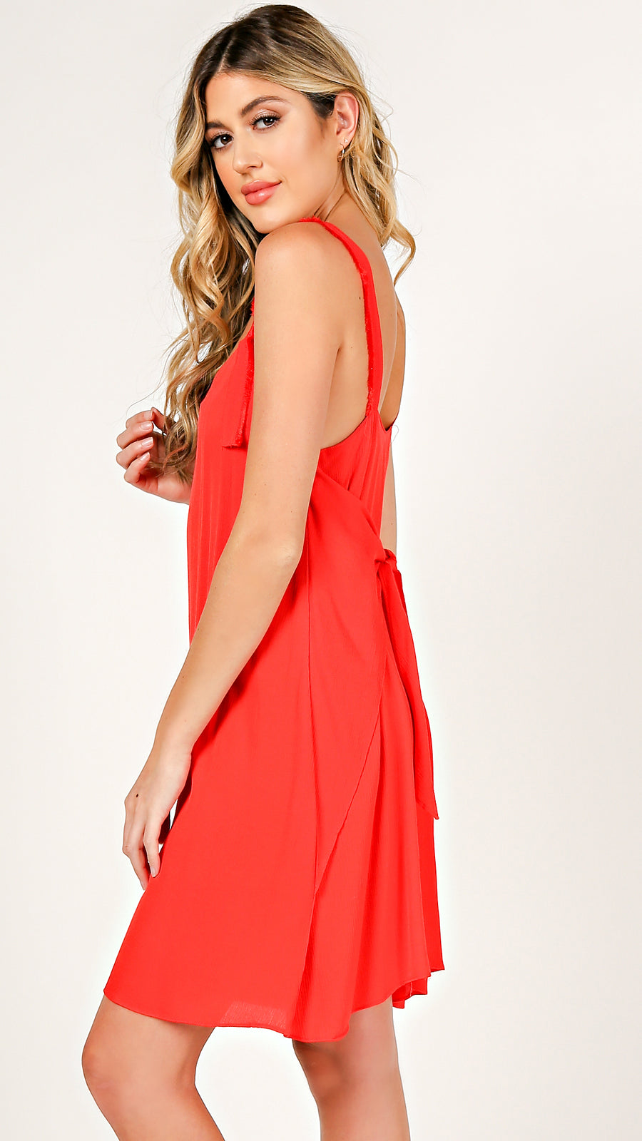 Frayed Detail Tie Dress - ANGL