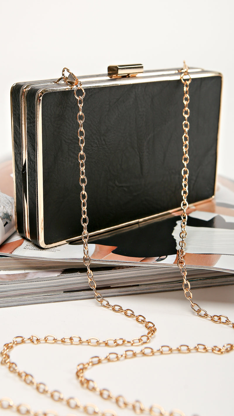 Snake Detail Gold Rim Clutch