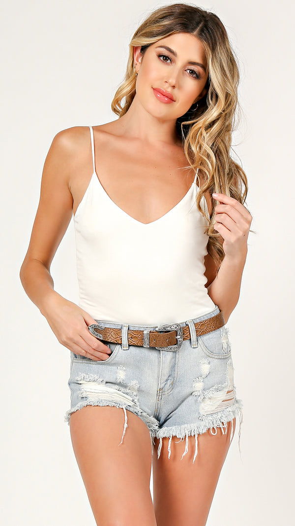 Basic V-Neck Cami Bodysuit - Msky