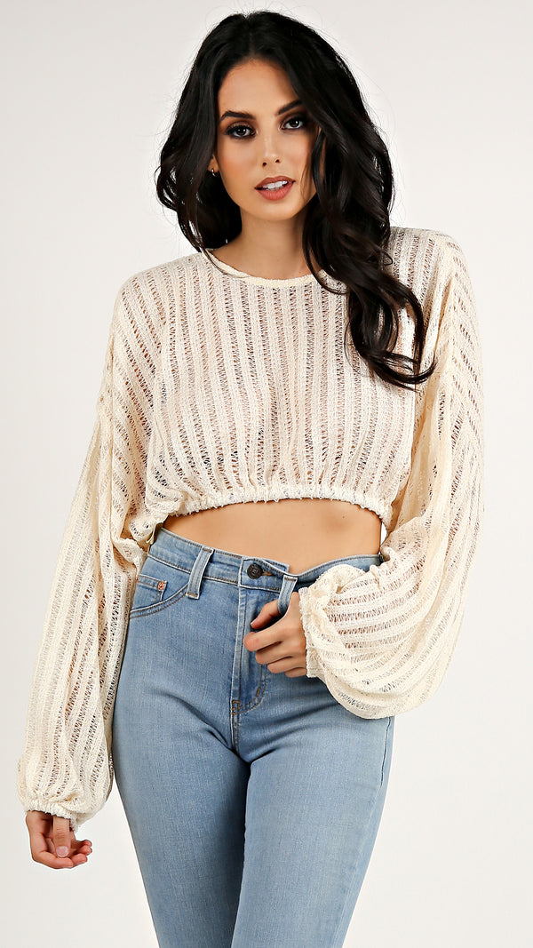 Knit Long Sleeve Crop Top...