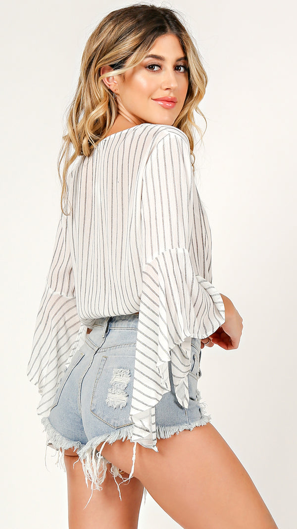 Bella Sleeve Wrapped Top - Msky
