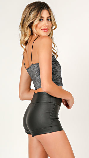 Straight Cut Shimmer Crop Top
