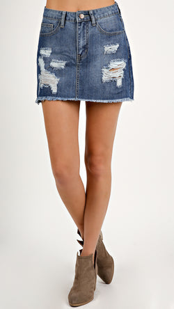 Distressed Denim Blue Skirt... - Msky