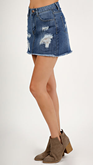 Distressed Denim Blue Skirt... - ANGL
