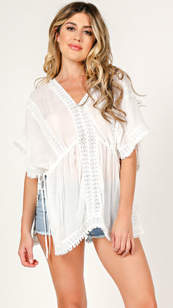 Crochet Inset Cover Up Top - Msky