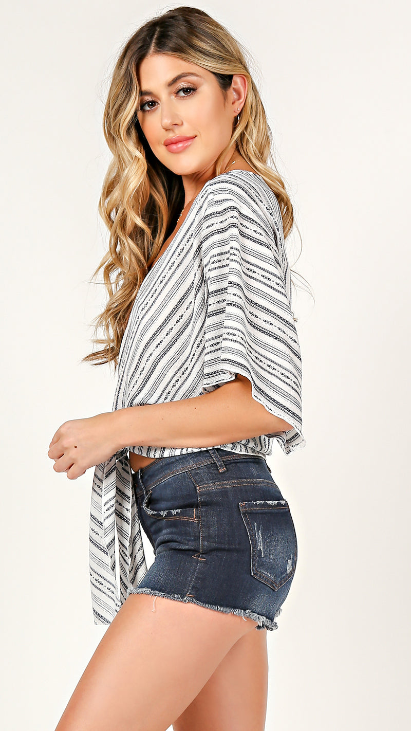 Kayla Striped Tie Front Top