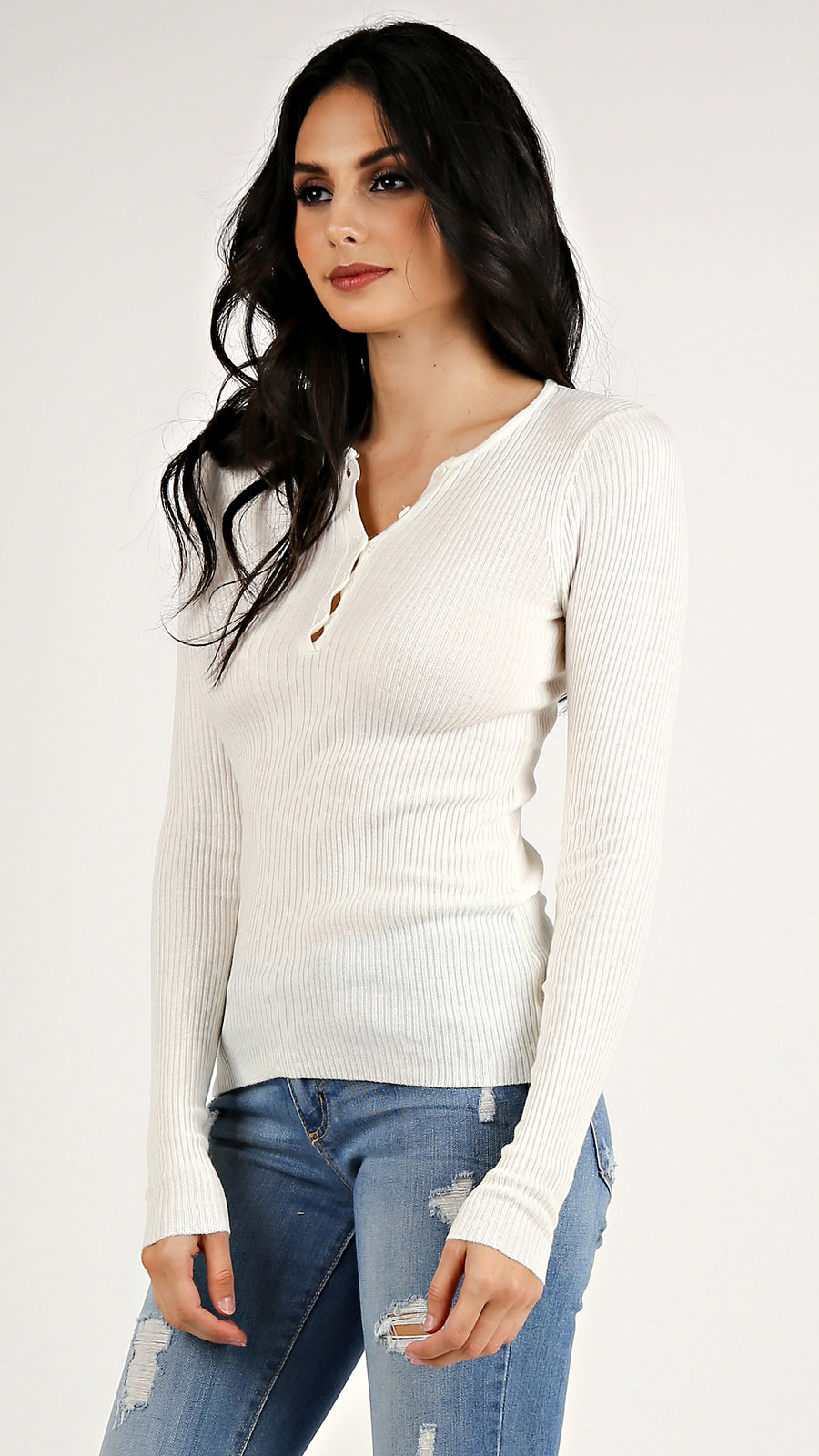 Ribbed Button Down Top...