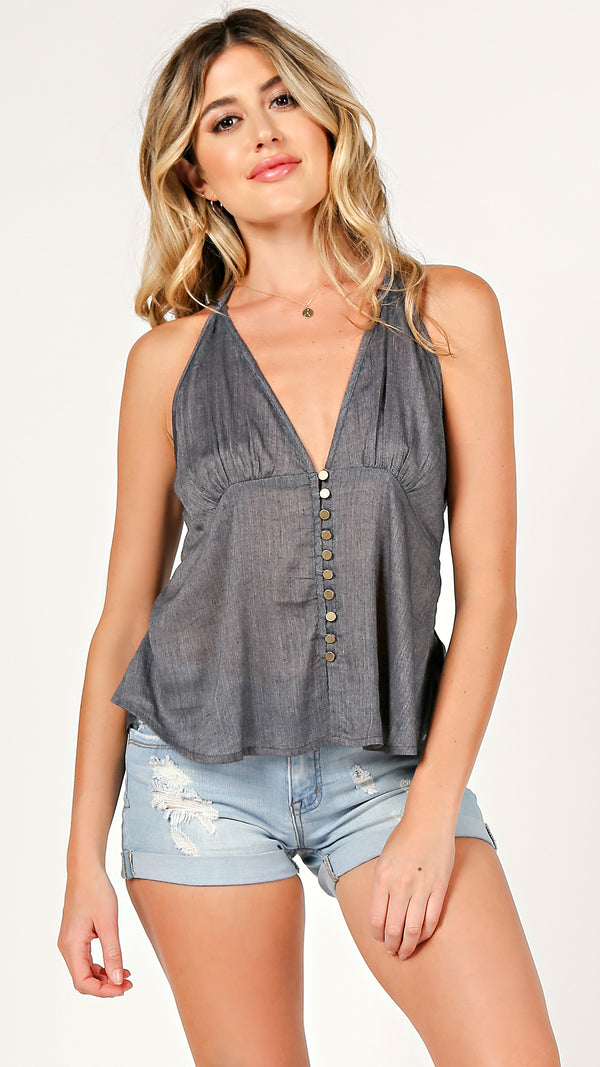 Mandy Button Down V-Neck Tank