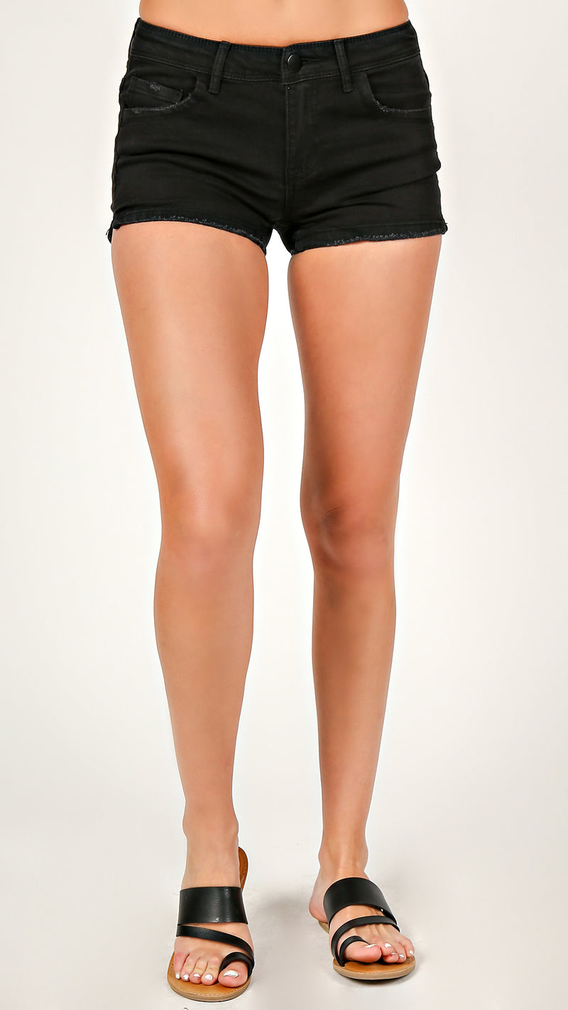 Black Lightly Distressed Classic Shorts - Msky