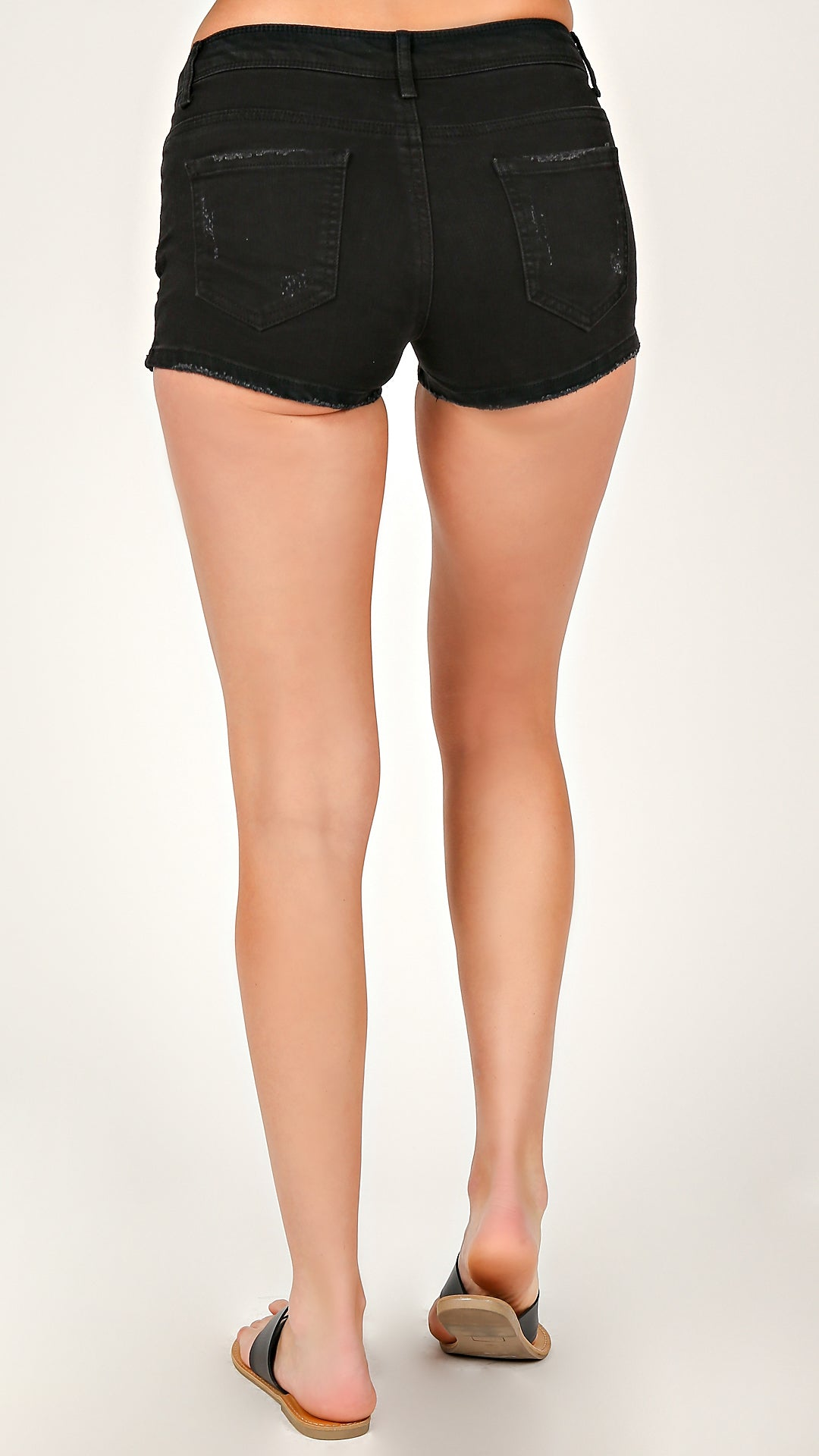 Black Lightly Distressed Classic Shorts