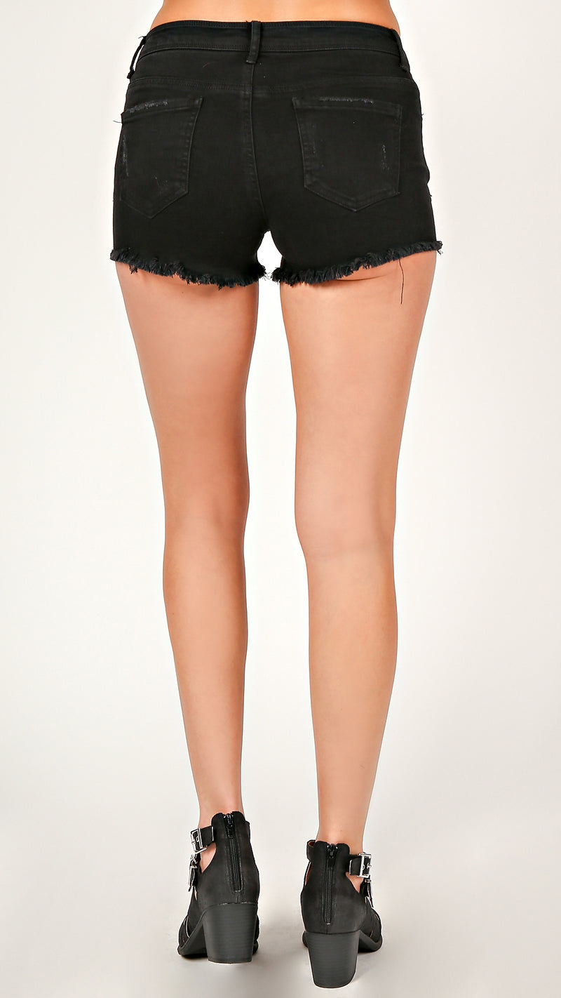 Distressed Frayed Denim Shorts - Msky