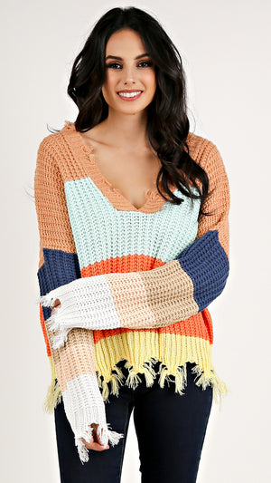 Layla Color Block Sweater...