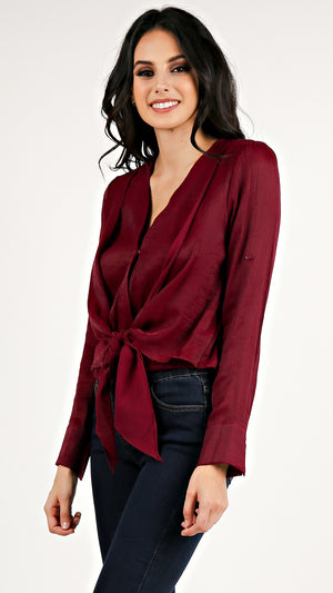 Front Tie Silky Long Sleeve...