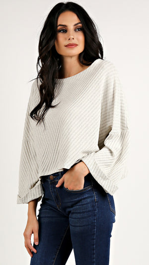 Ribbed Dolman Bell Top...