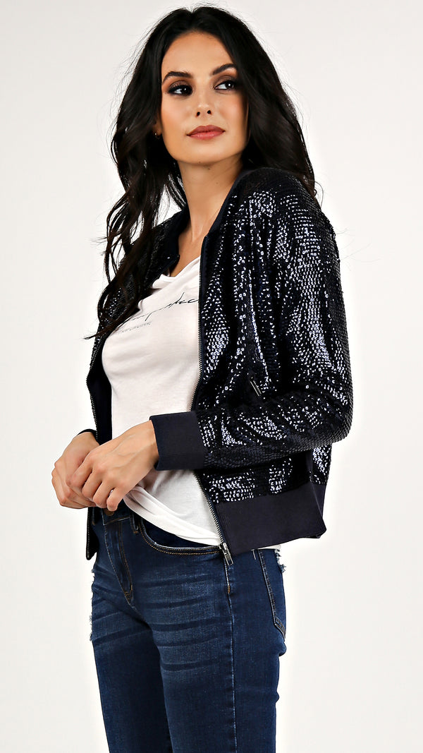 Sequin Bomber Jacket...