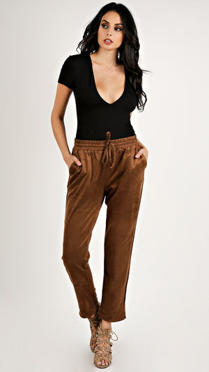 Suede Drawstring Pants - Brown...