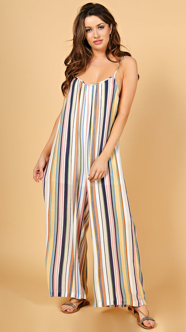 Multi Color Striped Jumpsuit