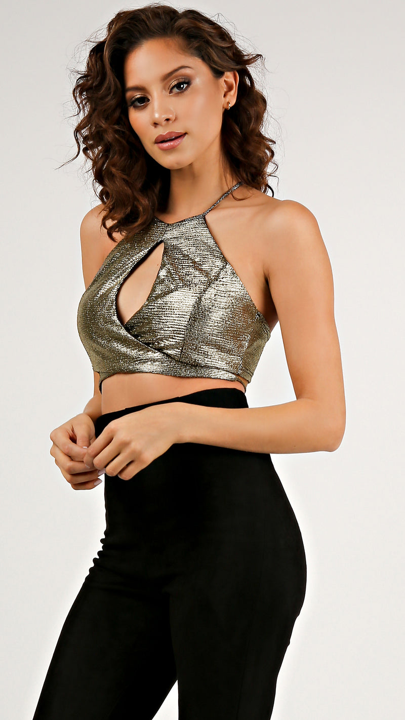 Foil Strappy Halter Crop Top... - Msky