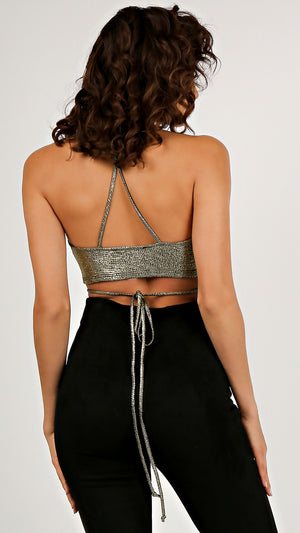 Foil Strappy Halter Crop Top...
