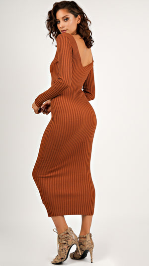 Ribbed Midi Bodycon Dress...