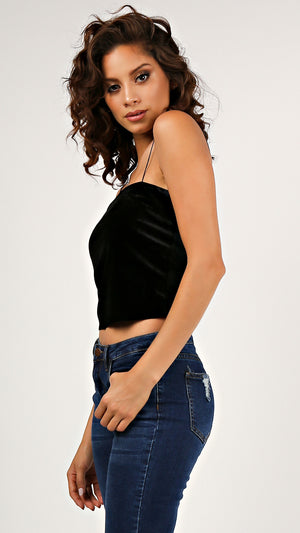 Velvet Straight Neck Cami...