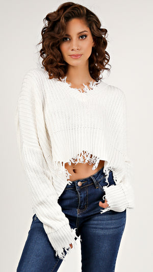 Distressed Cropped V- Neck Sweater