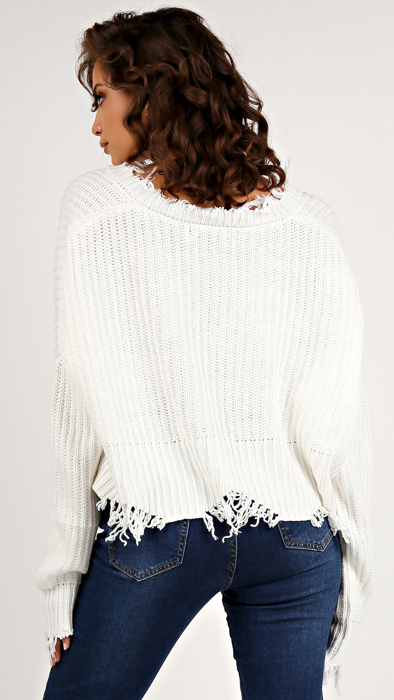 Distressed Cropped V- Neck Sweater - Msky