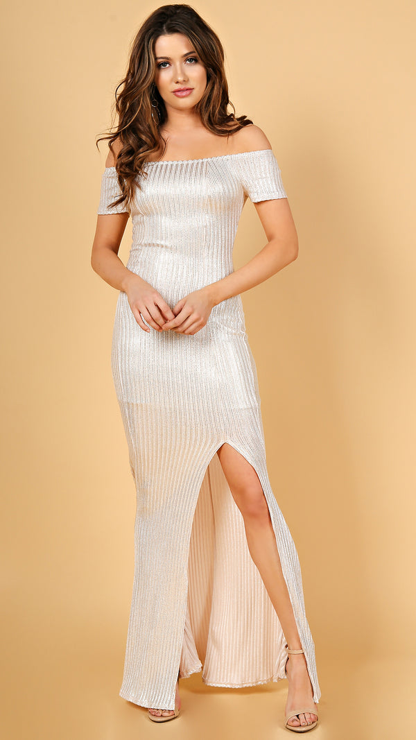 Shimmer Off Shoulder Maxi Dress