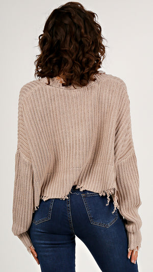 Distressed Cropped V- Neck Sweater - ANGL