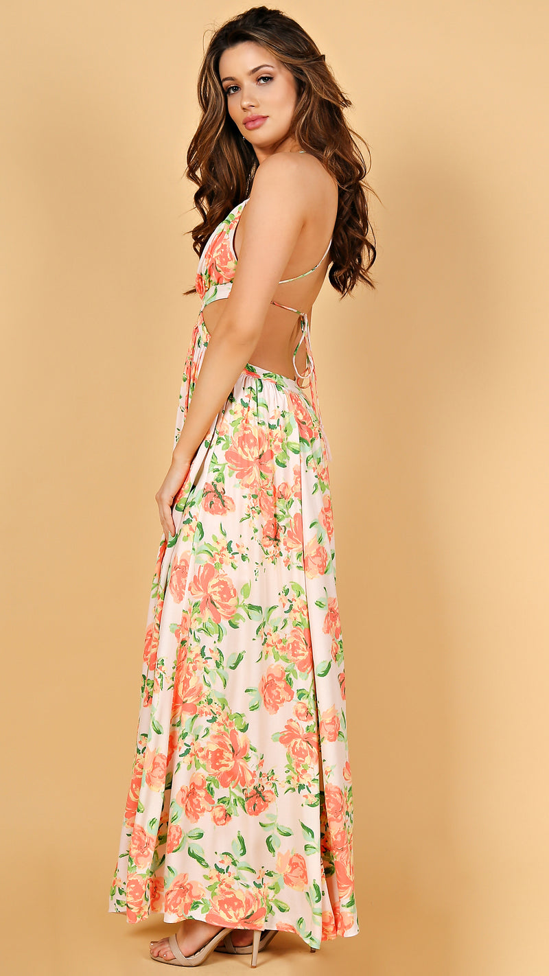 Just Peachy Cut Out Maxi Dress