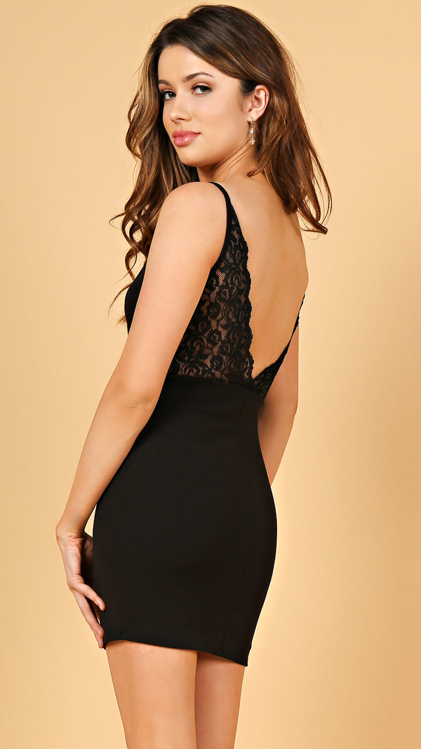 Lacey Open Back Bodycon Dress
