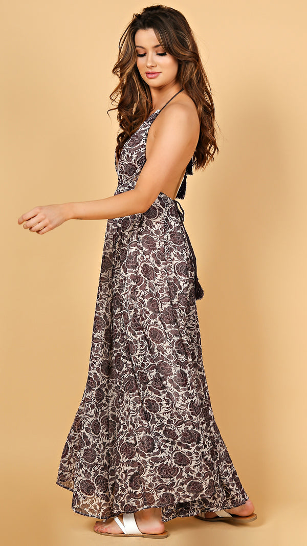 Lotus Low Back Printed Dress