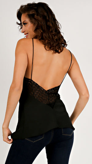 Silky Tank Lacey Back Cami...