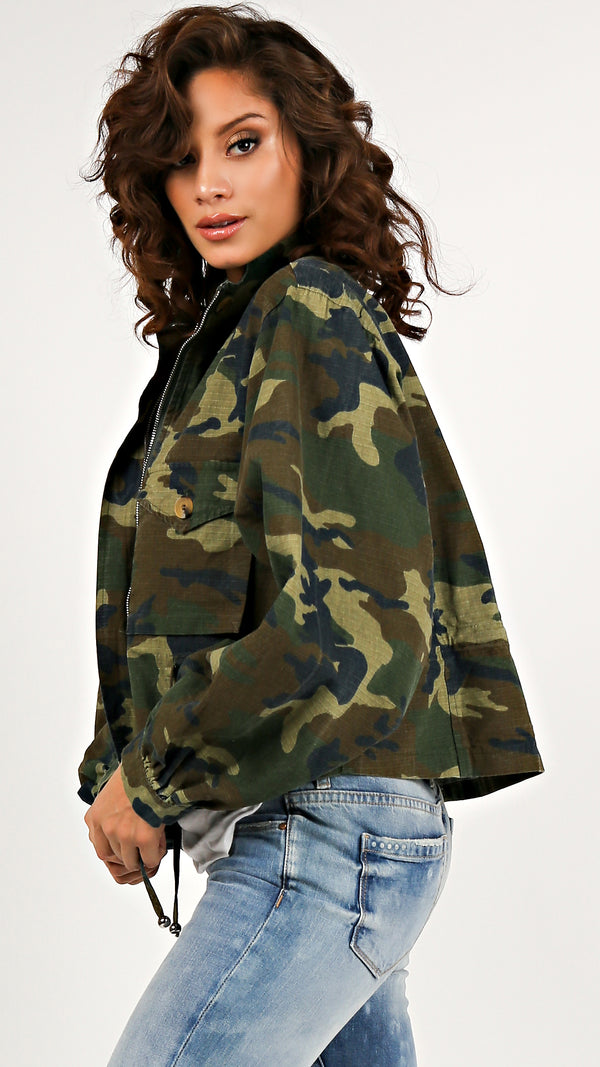 Chic Camo Drawstring Jacket - Msky