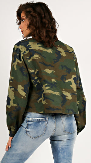 Chic Camo Drawstring Jacket - ANGL