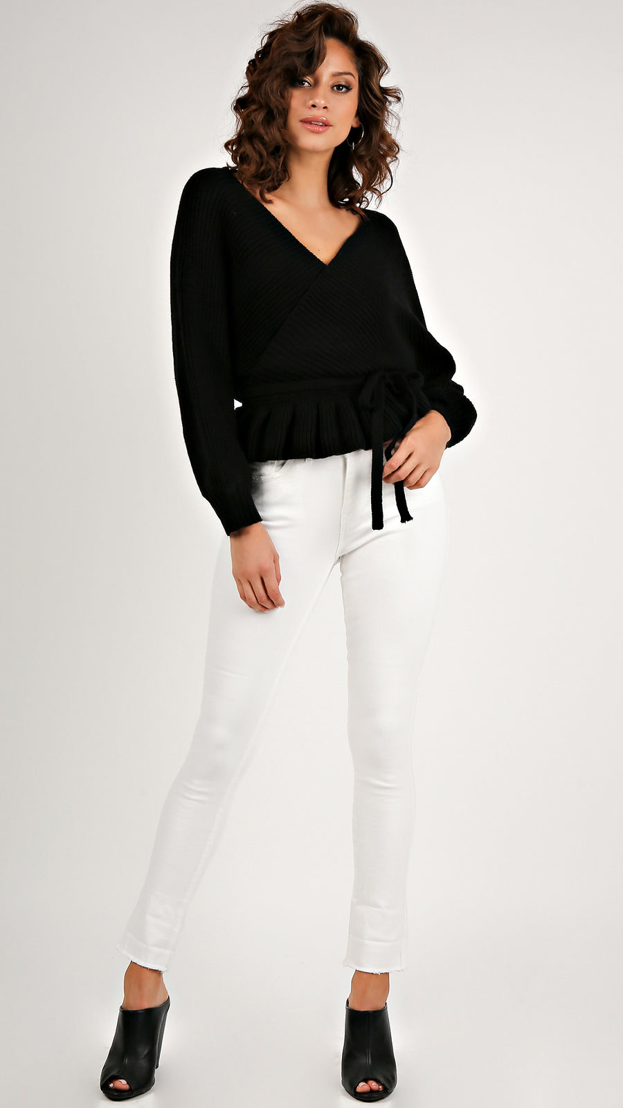 Chic Knit Ruffled Tie Sweater...