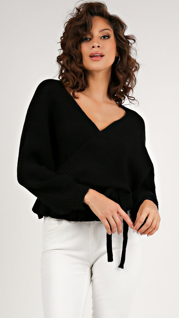 Chic Knit Ruffled Tie Sweater... - Msky