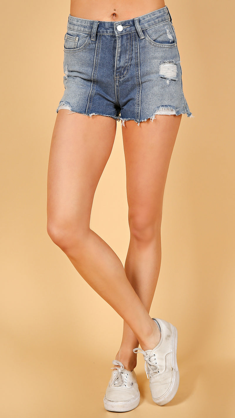 Seam Detail Denim Shorts