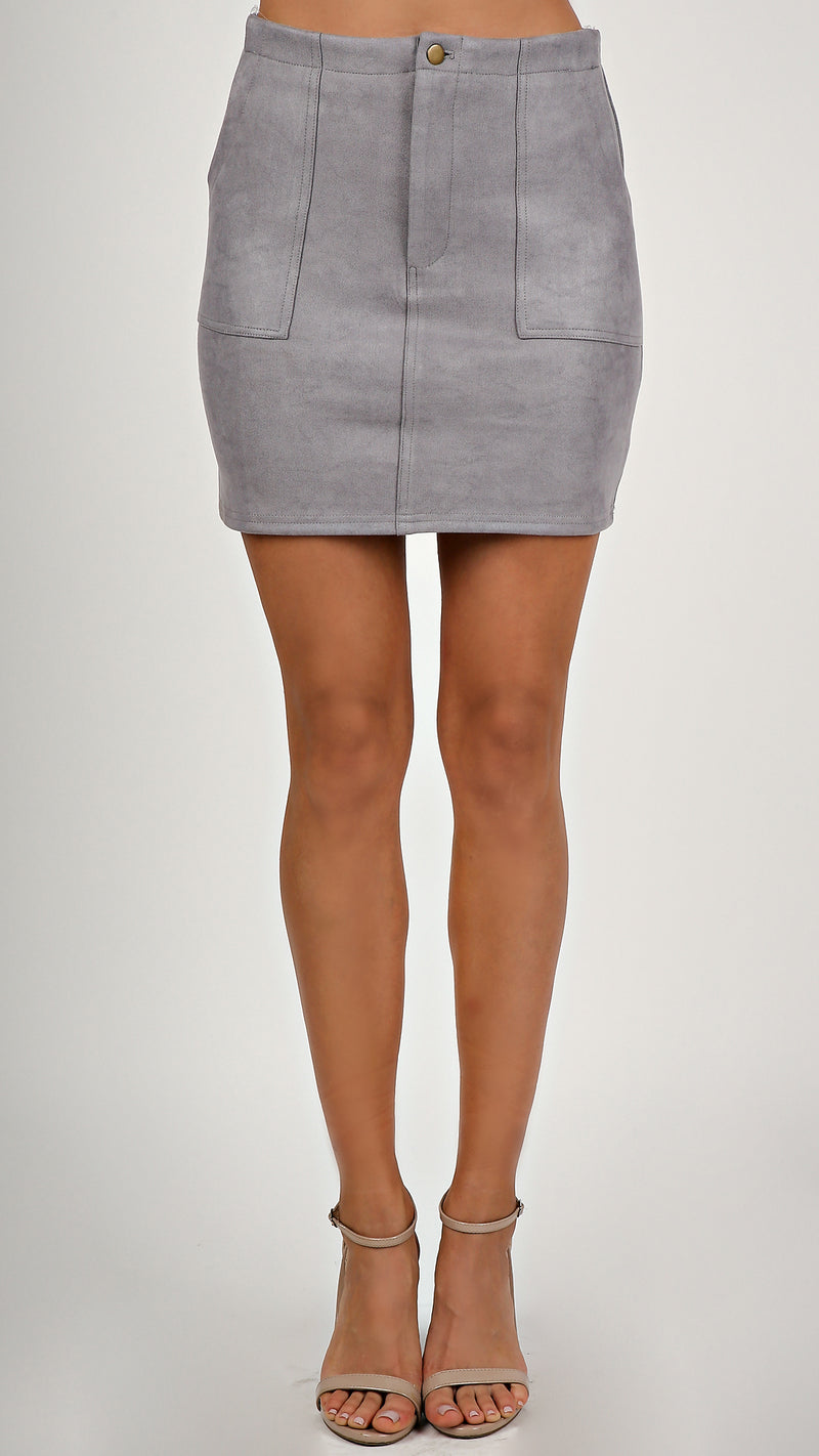 H Line Suede Mini Skirt...