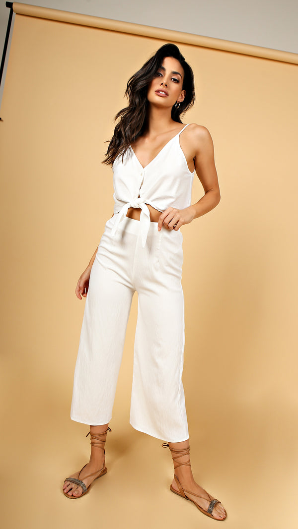 Front Tie Crop Top & Pants Set