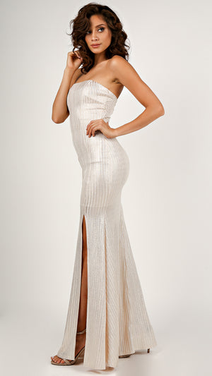 Metallic Glitter Tube Maxi Dress...